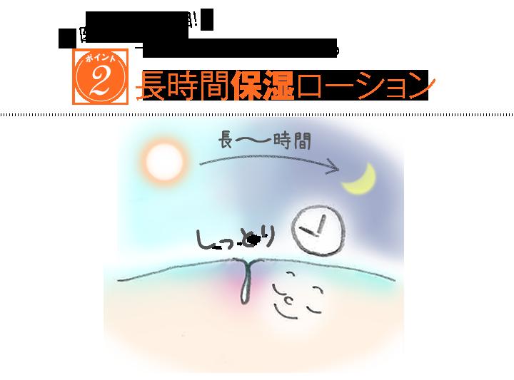 ポイント2:医療機関も注目! 1日中ダメージケアをする長時間保湿ローション