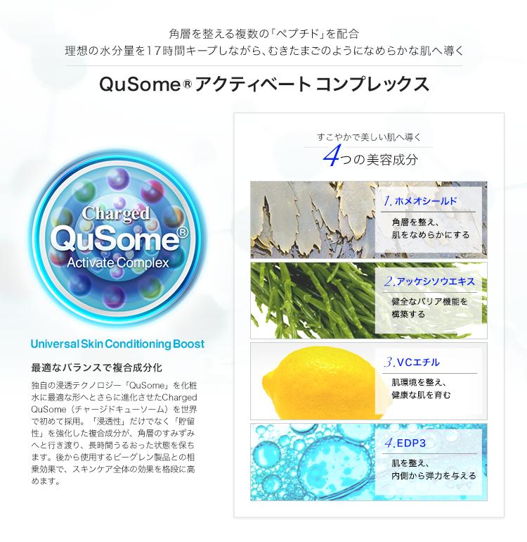 QuSomeアクティベートコンプレックス, 4つの美容成分 (ホメオシールド, アッケシソウエキス, VCエチル, EDP3)