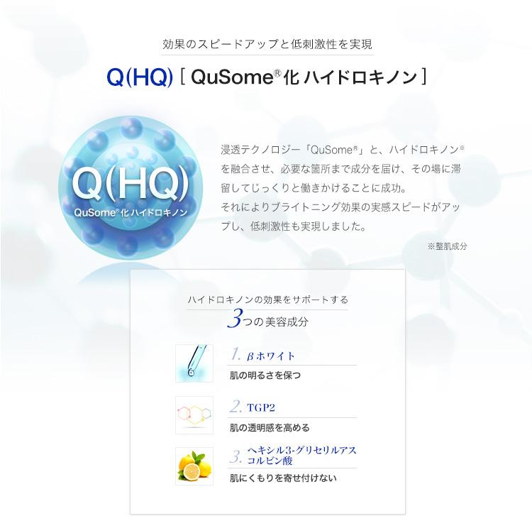 効果のスピードアップと低刺激性を実現 Q(HQ)[QuSome化ハイドロキノン]